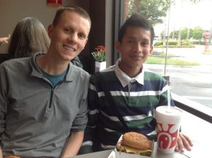 Justin and Jose at Chick Fil-A