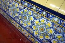 Ornate tilework in a subway station